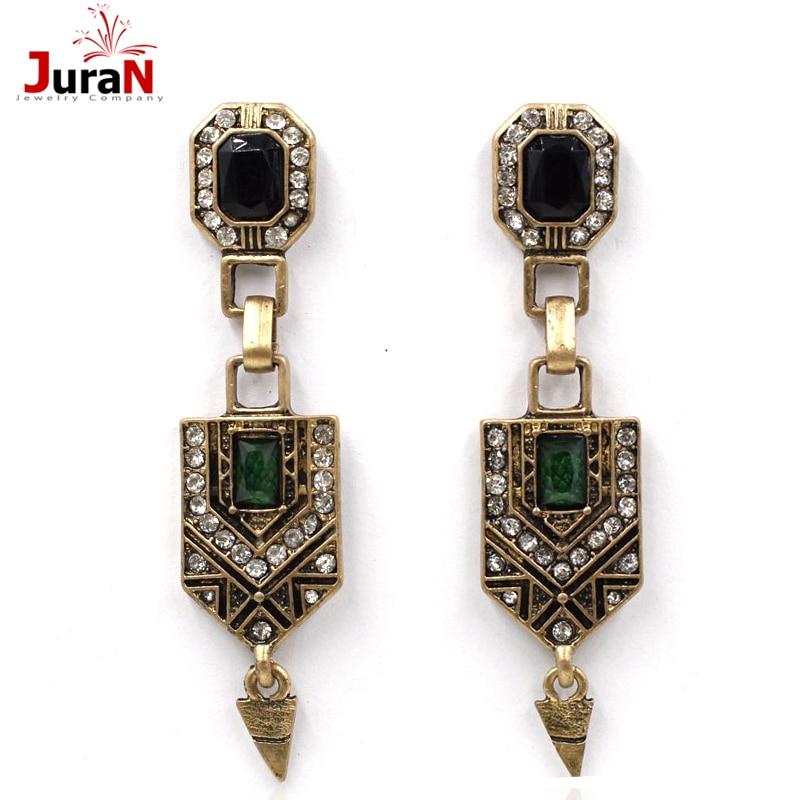 Stud Earrings Juran 2018 New Arrive Fashion Jewelry For Women Big Green Rhinestone Vintage Earrings Wholesale R1302 Possessing Chinese Flavors