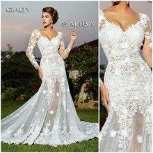 2015 Romantic Mermaid Wedding Gowns V-neck Long Sleeve Appliques Lace Bridal Dress Court Train Gowns