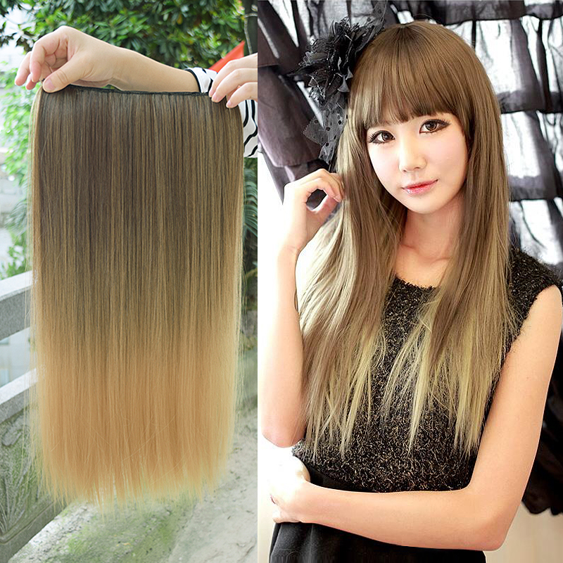 DIFEI 3/4 Full Head Hairpieces One Piece 5 Clips 12colors Clips in on Hair Extensions Long Straight Omber Red Blonde Hair
