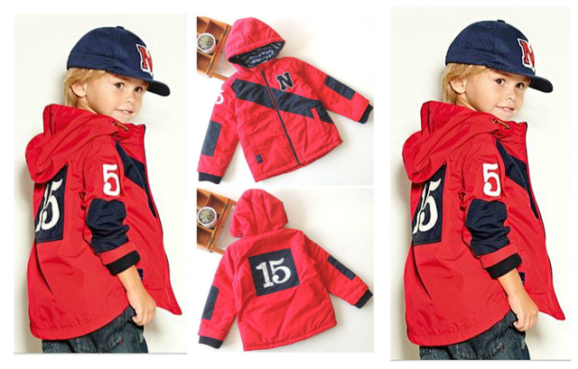 Foreign trade high-grade boys and girls big virgin hooded jacket wind and rain hit color stitching fashion Jackets