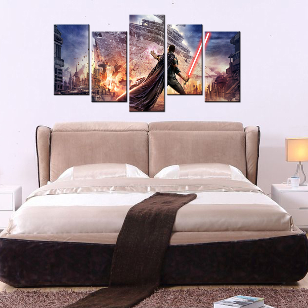 5 Panel Star Wars Wall Decor Canvas Painting Wall Murals For Bedroom Contemporary  Wall Art Print Poster Modern Canvas Artwork In Painting U0026 Calligraphy From  ... Part 87