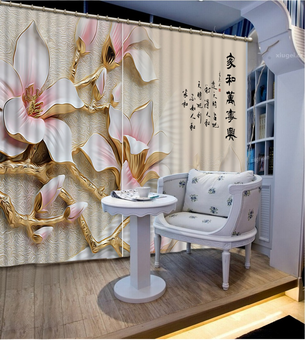 Custom 3d Curtain Flowers Curtains For Bedroom Kitchen Curtain Fabric Valance Curtains For