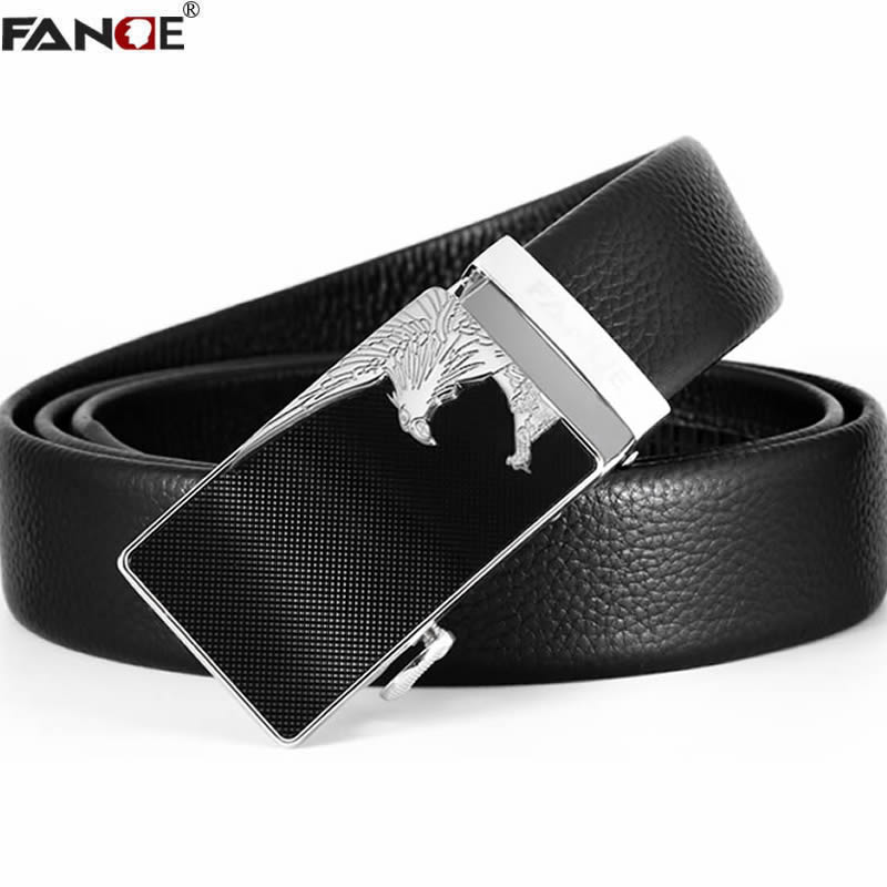 FANGE Men Genuine Leather Belt Male belt Automatic Buckle Fashion Designer High Quality Mens belts luxury brand black FG9256B
