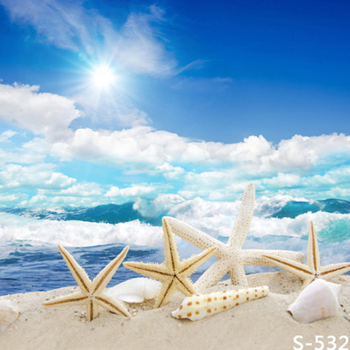 Sand Beach In Summer Sky Background: 8x8FT Clouds Blue Sky Sea Wave Starfish Shell Sand Beach