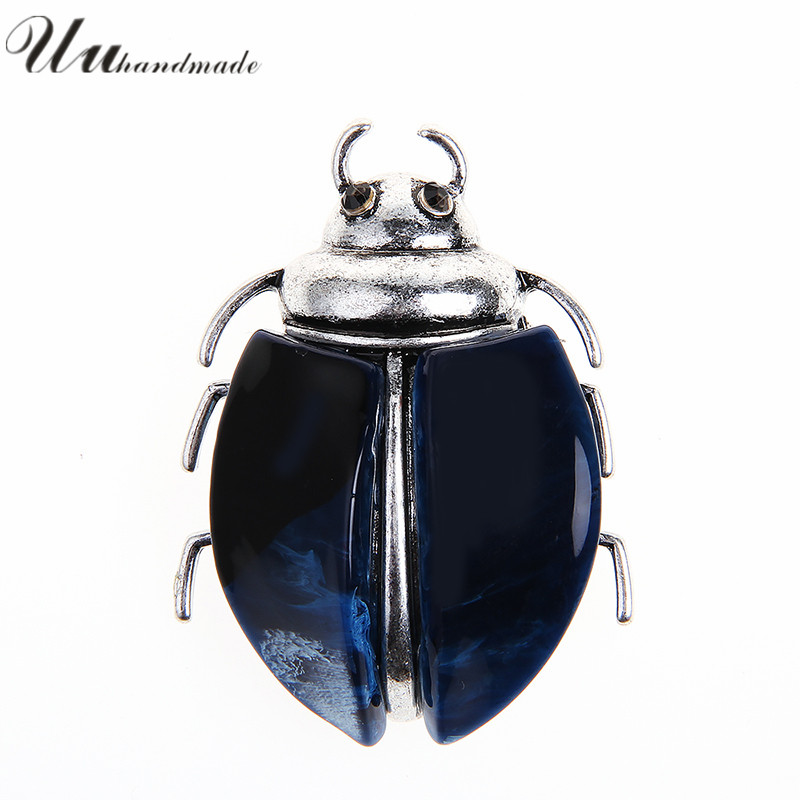 MOQ 20 PCs Trendy Hot Sale Vintage Pin Jewelry Lapel Brooch Mujer Animales Acrylic Brooches For Insects Beetle Fashion Broche
