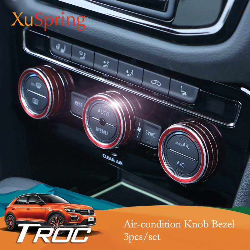 Car Air condition Adjustment Knob Button Switch Bezel Cover Trim Garnish Sticker Styling For VW T