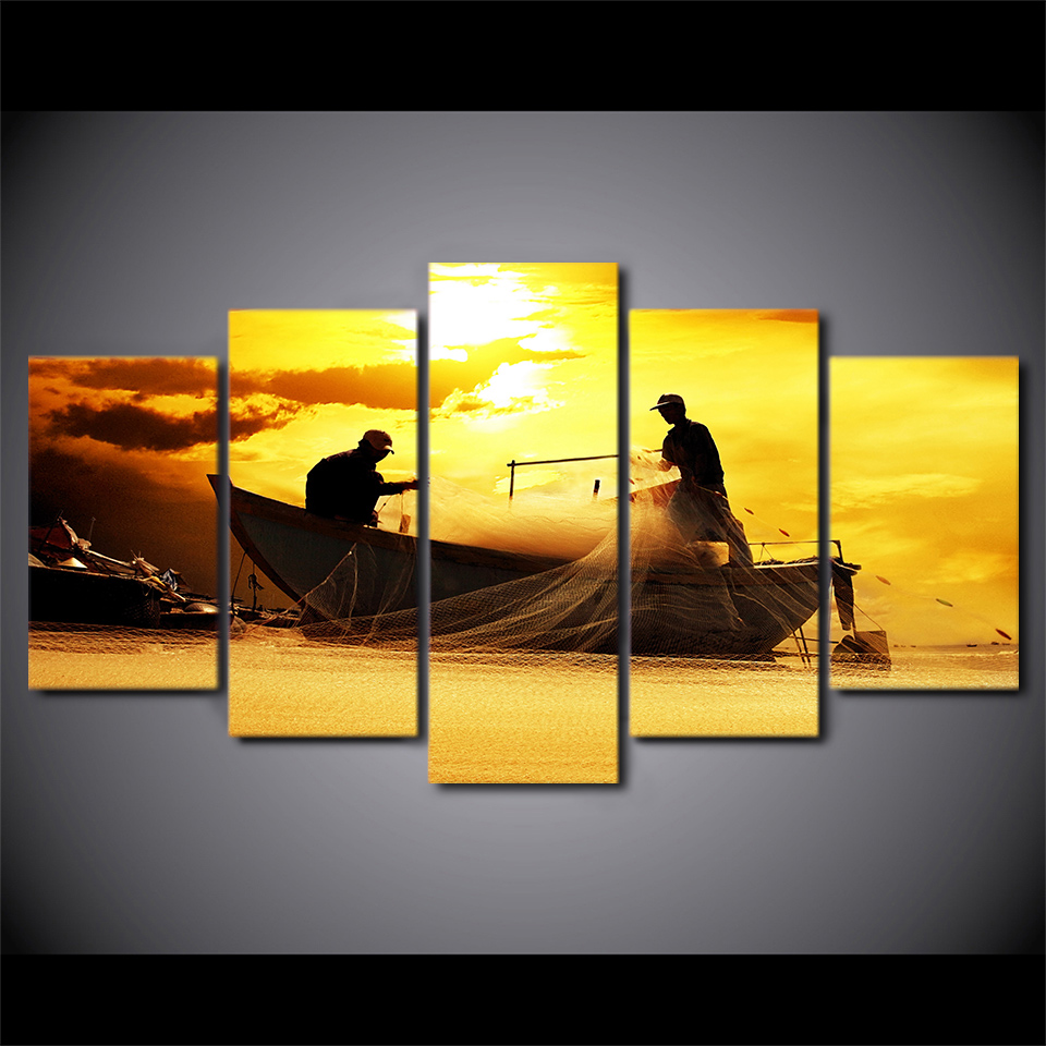 Modular Pictures Fishing Landscape New 5 Panel Canvas Painting ...