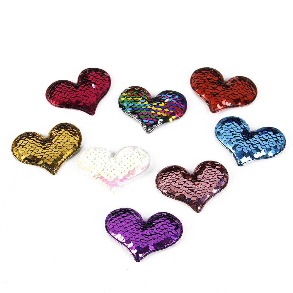 David accessories 65*40mm love heart accessories mermaid reversible Sparkly color Changeable Sheet Sequin Fabric,25Yc3149