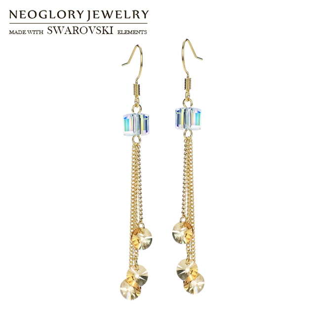 Neoglory Austria Crystal Long Drop Earrings Geometric Square Stylish For Elegant Gold Tels Lady Party Gift
