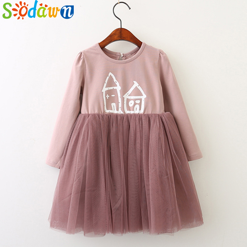 So dawn Autumn New Girls Clothes Cartoon Pattern Net Yarn Splicing Dress For Children Clohting Girls Princess Dress