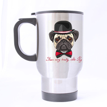 Luxury Smart Cute Pug Dog Custom Star Design Silver Travel Mug