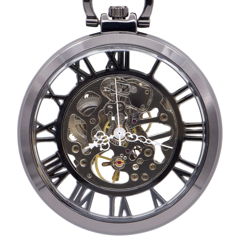 Luxury Silver Automatic Mechanical Hand Wind Pocket Watch Skeleton White Analog Roman Numbers Unisex Fob Gift Drop Shipping