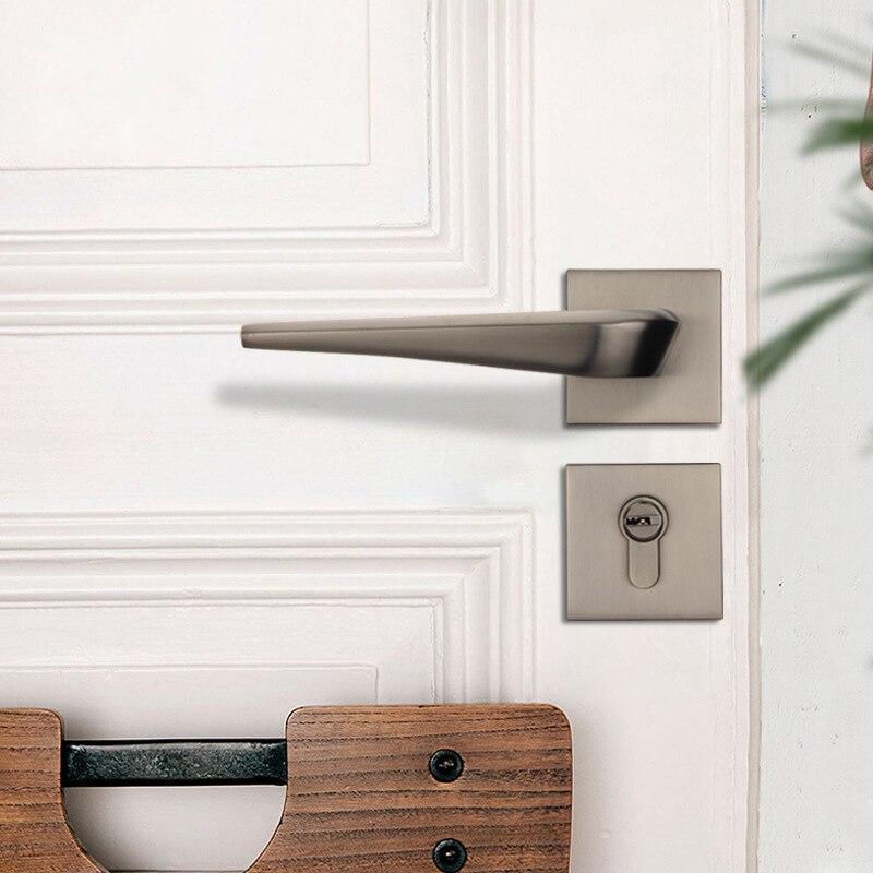 Muet noir serrure de porte en alliage de Zinc intérieur porte serrure poignée moderne Anti-vol chambre bois porte serrure meubles porte matériel