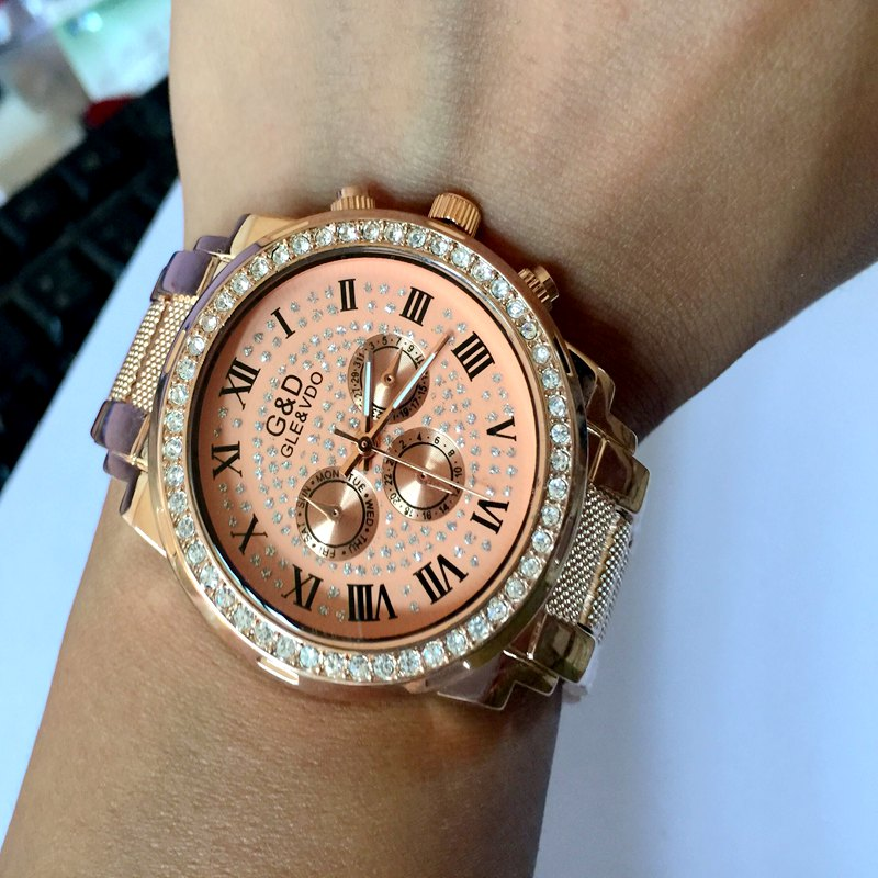 100 Real Pictures 2016 New Luxury Women Watches Stainless Steel