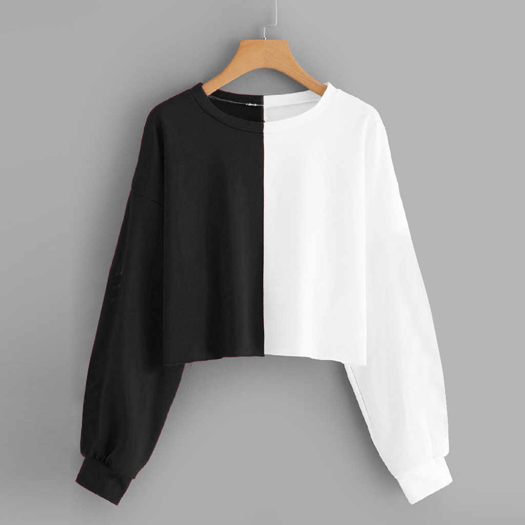 Womens Solid Long Sleeve Splice Short Pullover Tops Fashion Casual Streetwear Pullovers Tops