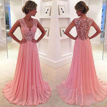 Elegant Evening Dresses Long 2017 New Charmming V-Neck Floor Length Chiffon with Top Lace Prom Party Dress Abiye Robe De Soiree