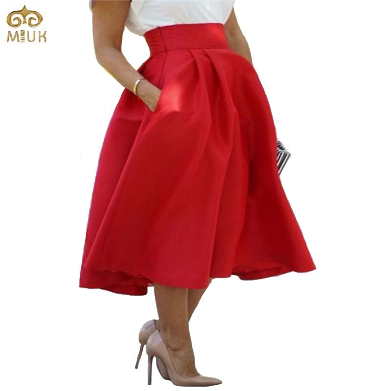 MIUK Large Size Red Long Women Skirt XL L Cotton Solid ...