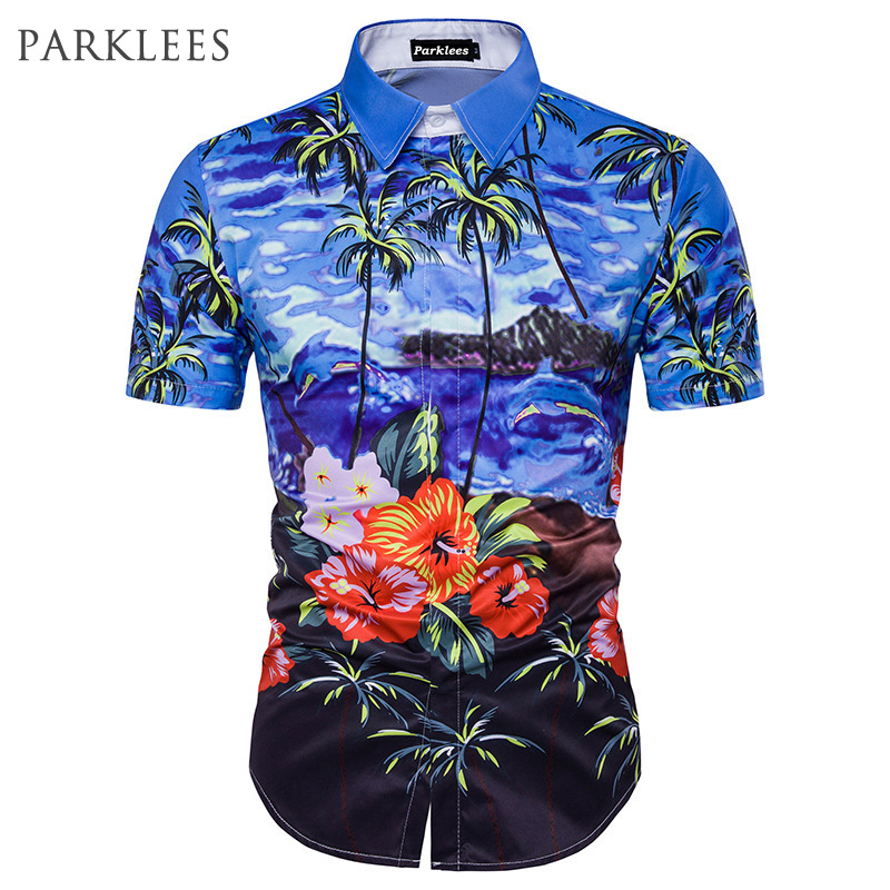 Summer fashion beach shirt men 2017 palm tree printed for Mens slim hawaiian shirt
