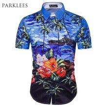 8f5f3a880 Camisa de playa de moda de verano para hombre 2017 con estampado de palmera  de manga corta Chemise Homme Casual Camisa ajustada .