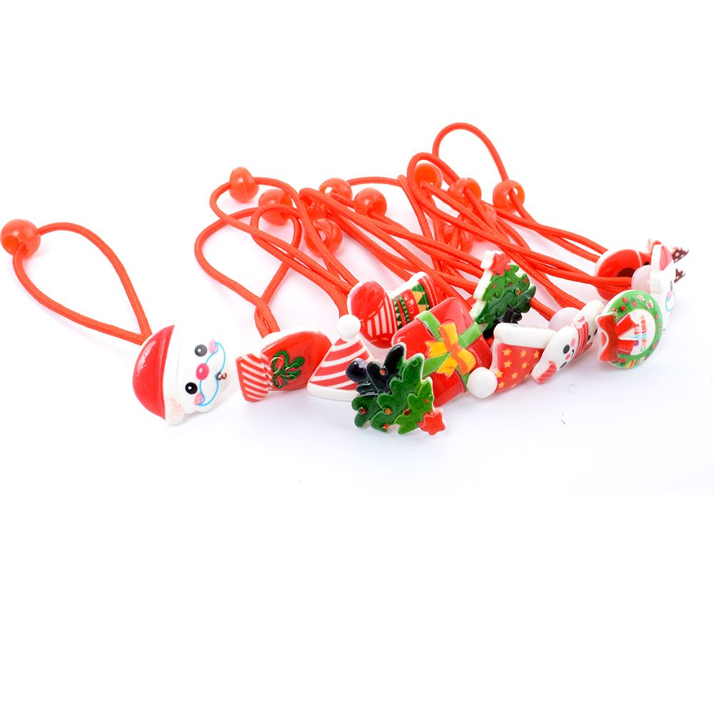 New 2Pcs Merry Christmas Hair Elastic Bands Flower Red Hair Accessories Bow Animals Headband Rubber Ropes Ties Girls Gift