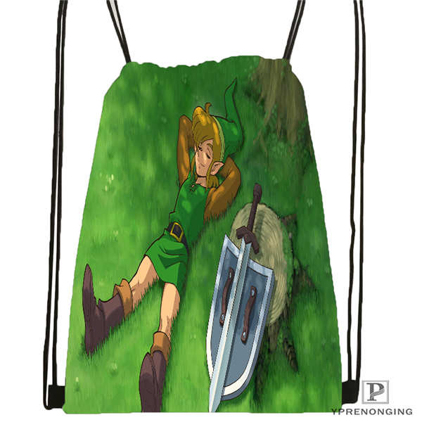 Custom The-Legend-Of-Zelda @01-Drawstring Backpack Bag Cute Daypack Kids Satchel (Black Back) 31x40cm#180611-01-35