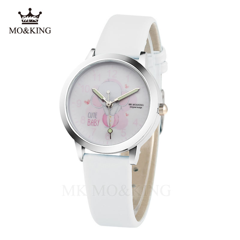 Elephant Pink Cartoon Elephant Child Watch Cute Boy Girl Quartz Cool Sport Gifts Clock  Strap Leather Wristwatch Relojes Relogio