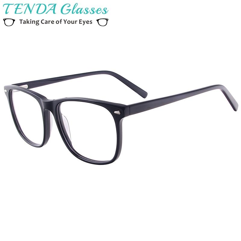 Men Women Acetate Eyeglasses Frame Prescription Glasses Square Spectacles With Spring Hinges For Lenses Myopia Progressive