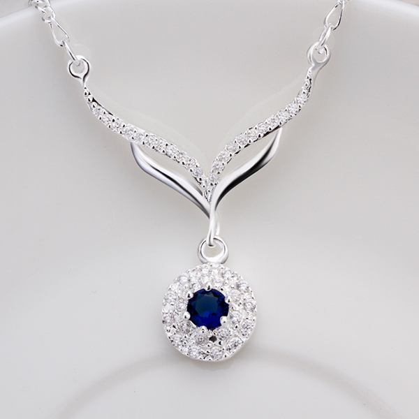 N498 2017 hot  925 sterling silver jewelry necklace leafage link round blue stone crystal pendant necklaces for women choker