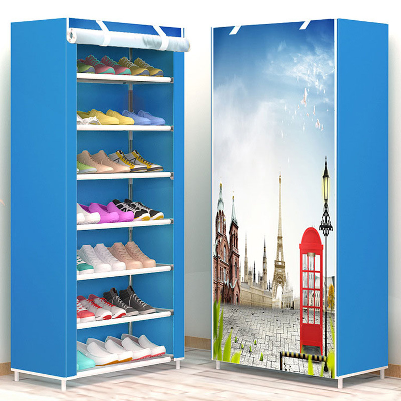 New style Shoe rack 8 layer 7 grid Non woven fabrics large shoes rack stand removable shoe storage for home furniture