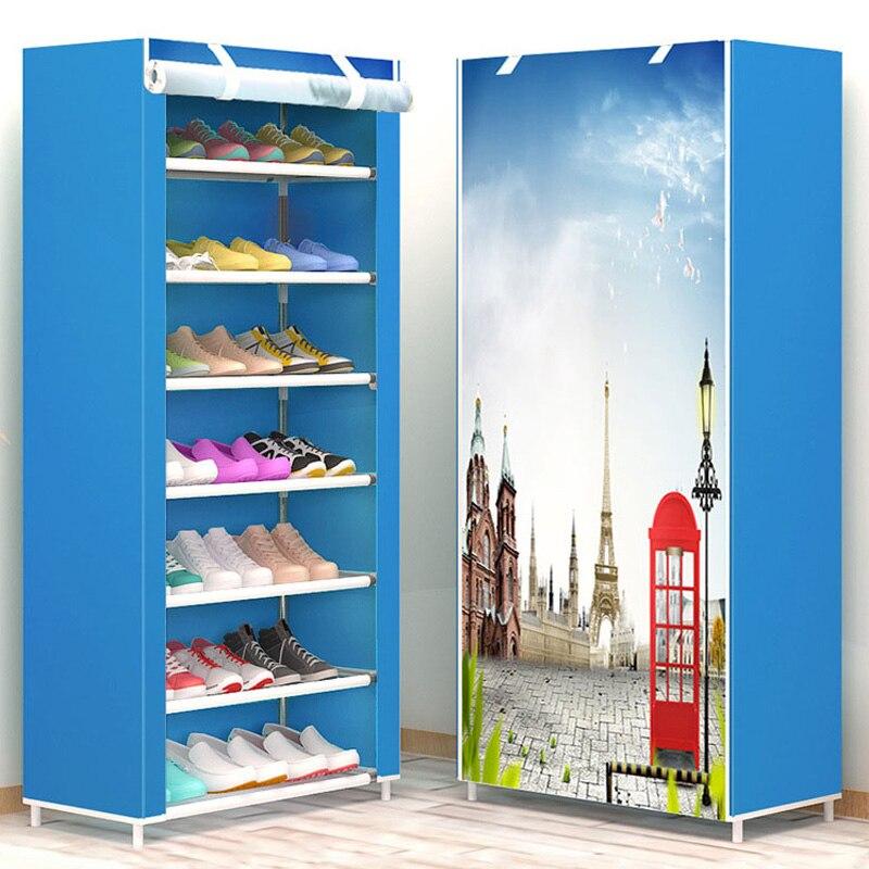 Novo estilo de Sapato 8-layer 7-grade Não-tecido tecidos grandes sapatos de rack rack de suporte de armazenamento de sapato removível para móveis de casa