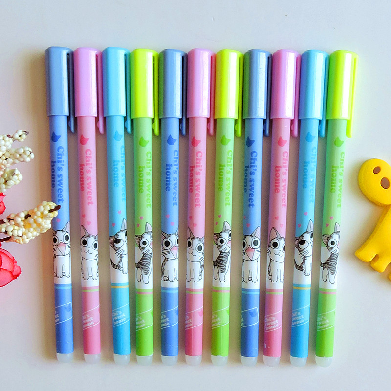 4X Cute Kawaii Chis Cat Erasable Gel Pen School Office Supply Writing Signing Pens Student Stationery Kids Gift 0.5mm