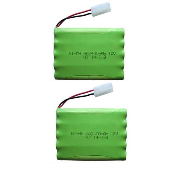 2pc 12v 2400mah ni-mh bateria 12v rc battery nimh battery pilas recargables 12v pack 10x aa size ni mh for rc car toy battery