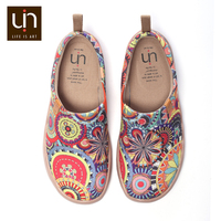UIN Blossom Design Colorful Art Painted Canvas Loafers for Women Wide Feet Comfort Shoes Ladies Outdoor Soft Sneaker Lightweight