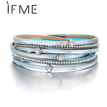 IF ME Bohemian Multiple Layers Leather Bracelets for Women Men Charms Crystal Pave Silver Blue Color Bracelet Party 2018 Gifts(China)