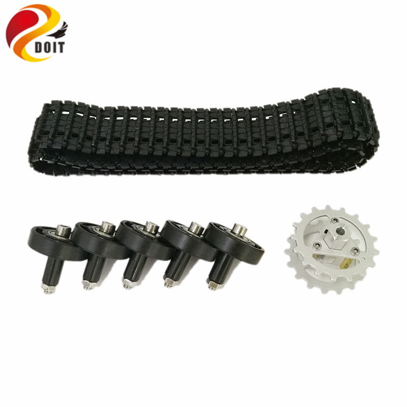 DOIT 1 Set Plastic Tracks+Plastic Bearing Wheel+Metal Driving Wheel for Arduino Robot Tank Car Chassis DIY RC Toy doit cool and new 6wd robot smart car chassis big load large bearing chassis with motor 6v150rpm wheel skid diy rc toy