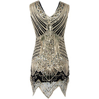 Sleeveless Black Gold sequined dress bodycon tassel Vintage 1920 s Party Dresses Handmade Diamond Fringed Summer Dress Vestidos