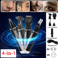 1set 4 In 1 Men Nose Hair Trimmer Beard Shaver Sideburns Cutter Eyebrow Shaping Device Rechargeable Trimmer Beard Shaver