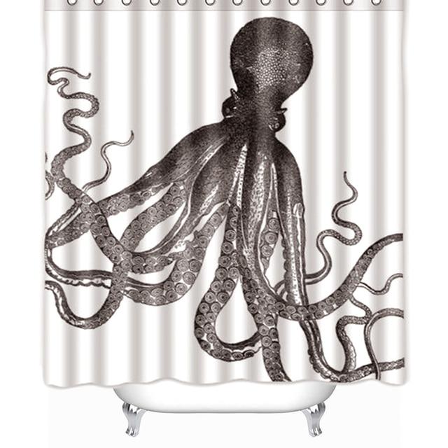 Vixm Hot Sale Custom Octopus Steampunk Ocean Shower Curtain Bathroom Decor Fabric 66 X 72