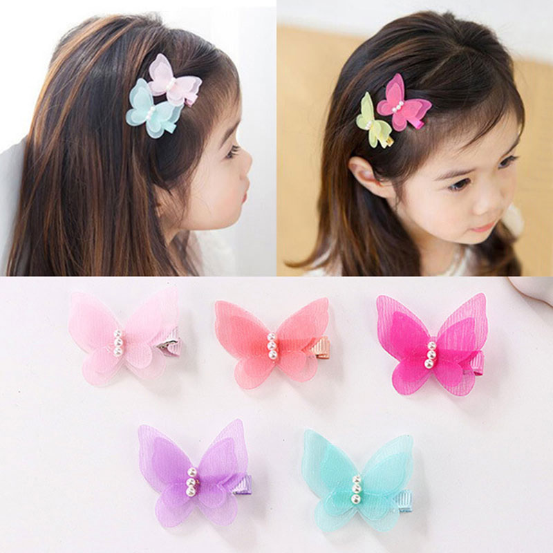 1 Pc Pearl Cute Butterfly Hair Clips Snow Yarn Princess Girls Baby Hair Pins Barrette Women Hairpins Side Clip Hair Accessories