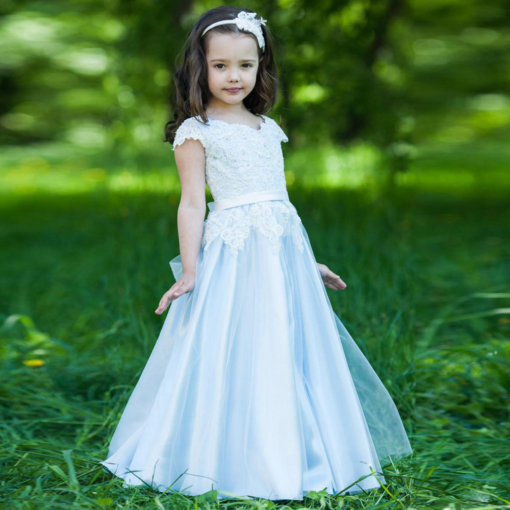 New Arrival Blue Fluffy Tulle Lace Flower Girls Dresses For Wedding Floor Length Custom Made Any Size ow amelie lacroix widowmaker cosplay costume custom made any size