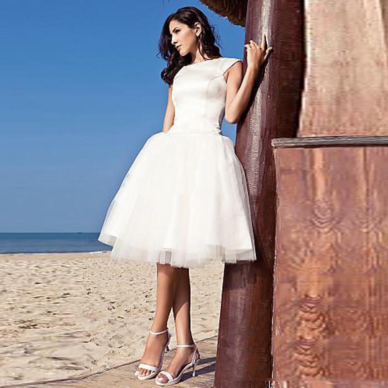 Short Sleeve Simple Wedding Dress: Simple White Beach Wedding Dresses Short Cap Sleeve Puffy