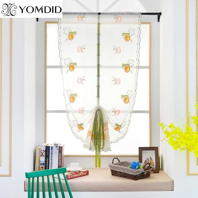 pastorale borduurwerk romeinse gordijn fruit gedrukt tulle gordijnen slaapkamer woonkamer keuken raamdecoratie gordijnen