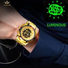 SEWOR Mens Fashion Full Steel Luminous Skull Skeleton Bone Mechanical Automatic Watch Men Sport Watch relogio masculino sewor sw031 mechanical male watch page 6