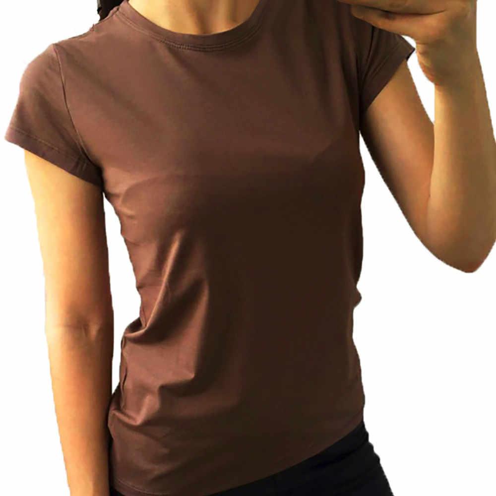 Модные женские белые летние футболки с круглым вырезом, чистый цвет, короткий рукав, Повседневная Свободная Сексуальная футболка, топы 2019, camiseta feminina
