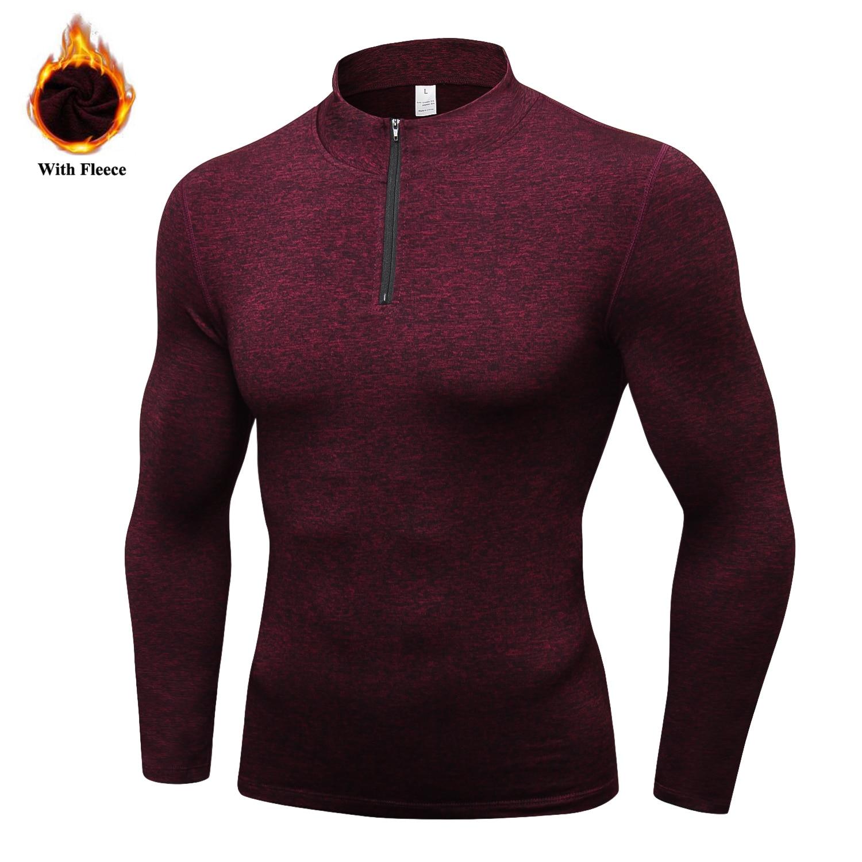 Men's Thermal Fleece Running Jacket Winter Outdoor Workout Sports Coat Warm Down Jackets Boys Gym Jogging T-Shirts Basic Jackets