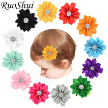 2018 Children's Flower Hair Accessories Polyester Ribbons Kids Hairpins Barrettes Headwear Flower Hair Clip for Baby Newborn(China)