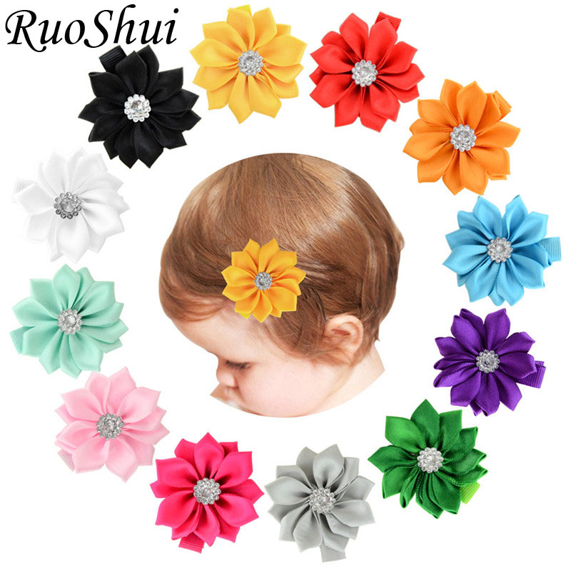 2018 Children's Flower Hair Accessories Polyester Ribbons Kids Hairpins Barrettes   Headwear   Flower Hair Clip for Baby Newborn
