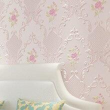 Walltalk Wall Background Home Decor Floral Embossed Pink Beige Textured Wallpaper for Wedding Room Bedroom Walls European Rustic