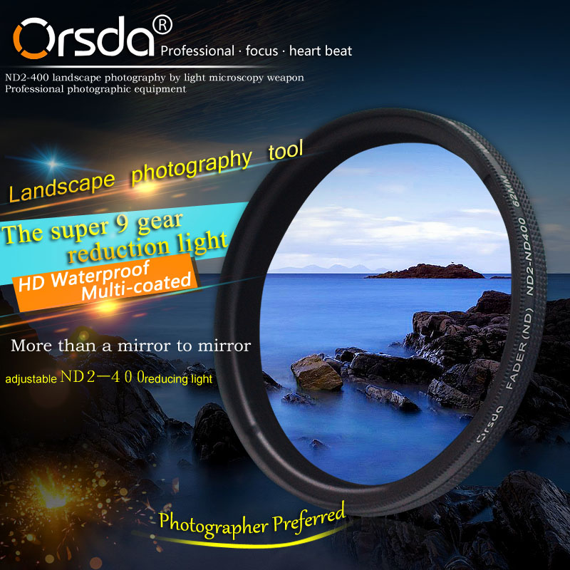 Orsda 37mm 46mm 49mm 52mm 55mm 58mm 62mm 67mm 77mm 72mm 82mm 86mm ND2-400 Filtro para Sony Pentax Nikon Canon EOS 650d 5d2 5d D80