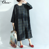 Celmia Vintage Dress Winter Plaid Dress Women Cotton Linen Dresses Long Sleeve Pockets Loose Long Vestido